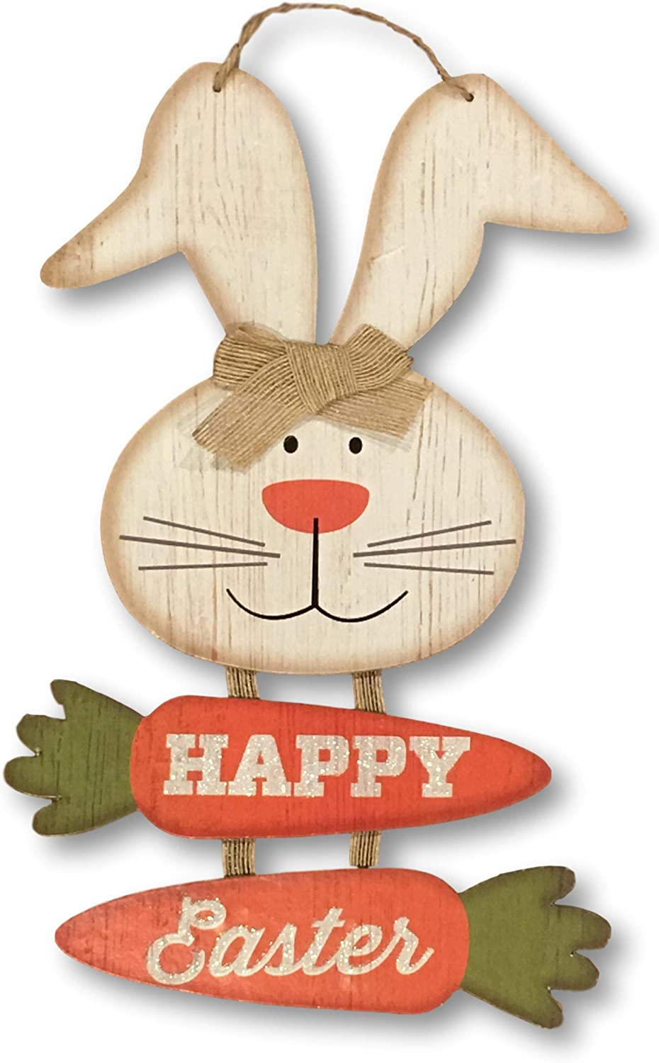 Wooden Happy Easter Bunny Hanger