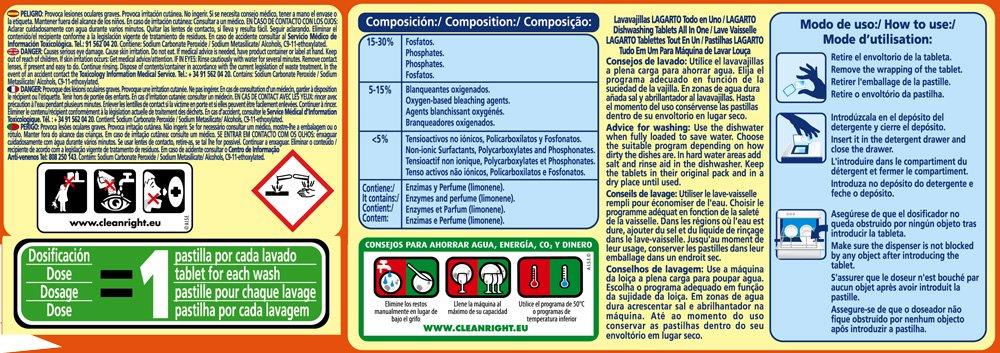Lagarto Lavavajillas Maquina - Todo en Uno - Paquete de 4 x 40 Pastillas - Total: 160 Pastillas / 3200 gr