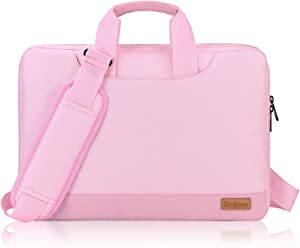 15.6 Inch Laptop Sleeve Bag with Shoulder Strap for Women Girls, Simboom Portable Tablet Briefcase Waterproof with Accessories Organizer Pouch for 15 15.6 Inch Acer / Asus / Dell / HP / Lenovo - Pink