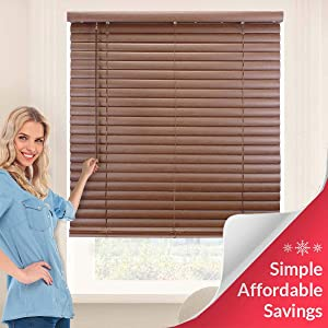 "Chicology Cordless 2-Inch Vinyl Mini Blinds Light Filtering, Darkening Perfect for Kitchen/Bedroom/Living Room/Office and More, 27""W X 64""H, English Chestnut (Commercial Grade)"