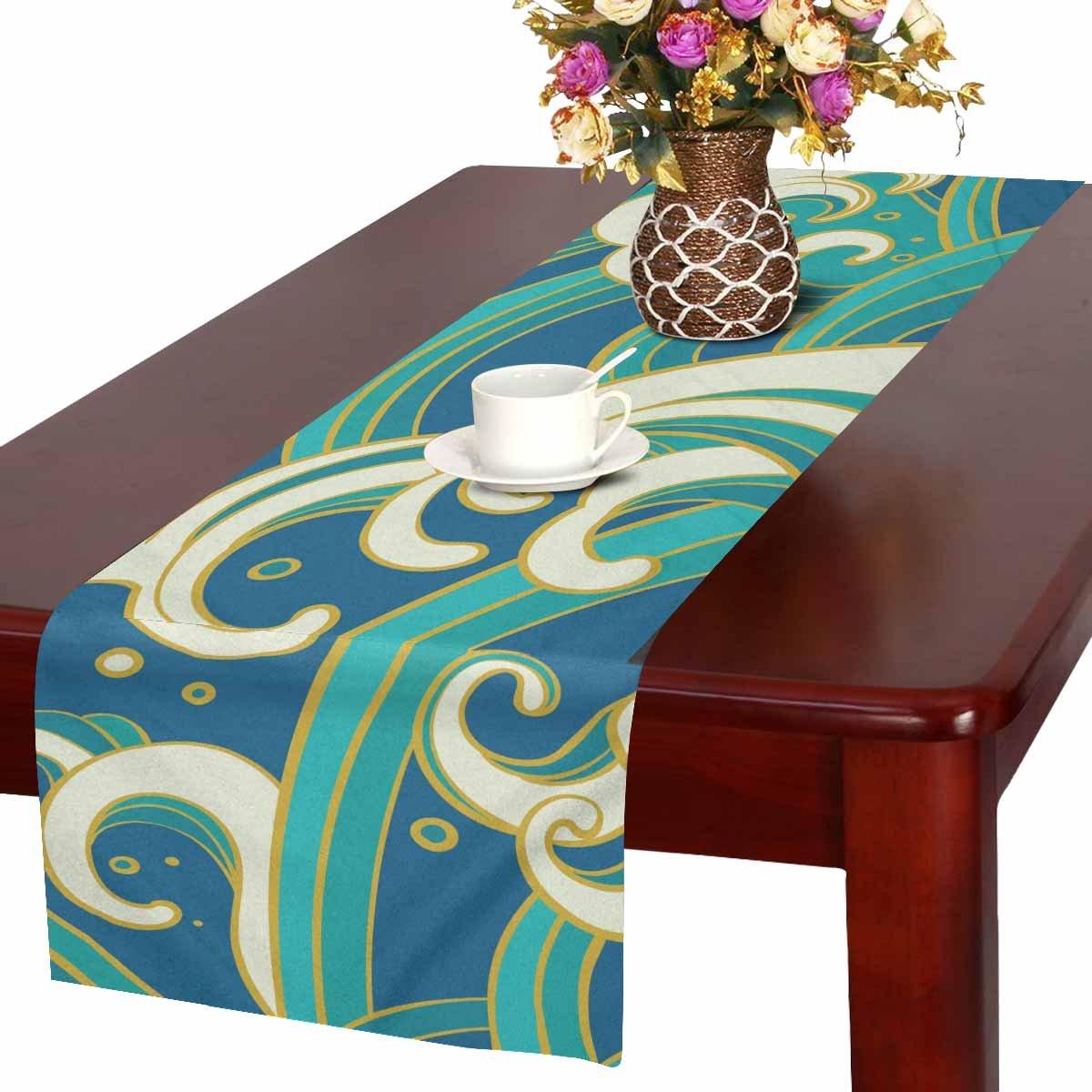 interestprint Ocean Waves長いテーブルランナー16 x 72インチ、自然長方形テーブルランナー、結婚式パーティー装飾キッチン装飾ファームハウス装飾   B07D5BTQVX