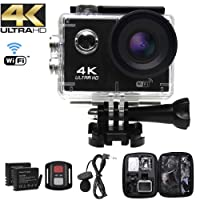 Action Camera Ultra HD 4k , Videocamera WIFI ,Profondità dell'acqua 30M, Macchina fotografica sportiva 20MP, diagonale 170 °, Mic esterno,Telecomando 2.4G, EIS,2 Batterie e kit di installazione