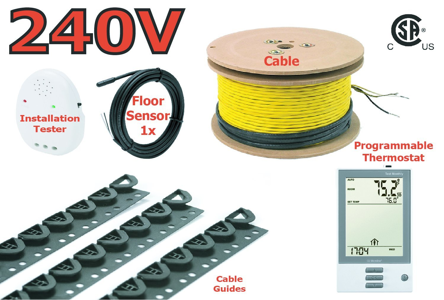 3.7W 240V Electric Tile Radiant Floor Heating Cable with UDG-4999 Programmable Thermostat Floor Heating System 39 Sq.Ft.