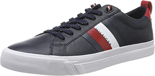 Tommy Hilfiger Herren Weiß Flag Detail Leather Sneaker