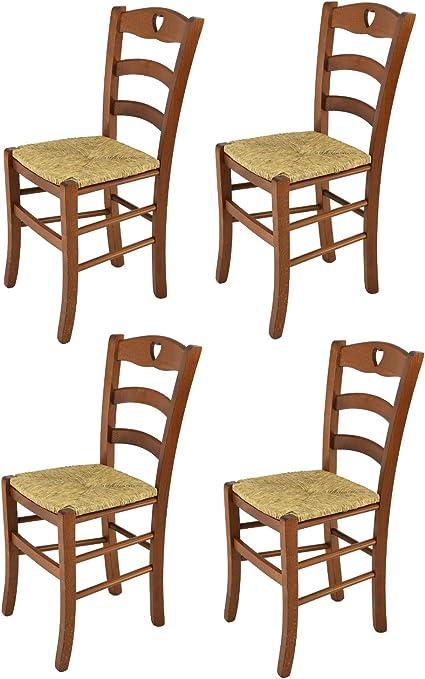 tmcs Tommychairs Set 4 sedie Cuore per Cucina e Sala da Pranzo, Robusta Struttura in Legno di faggio Verniciata Color Noce e Seduta in Paglia