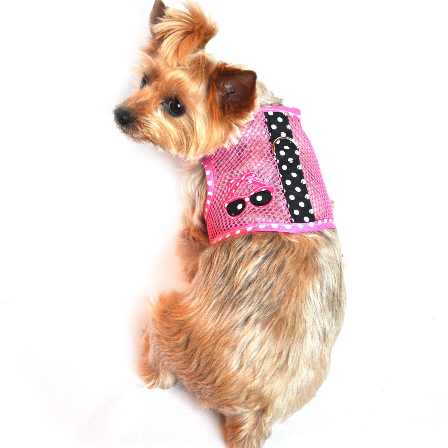 Doggie Design Cool Mesh Dog Harness Under the Sea Collection - Sunglasses Pink and Black (S)