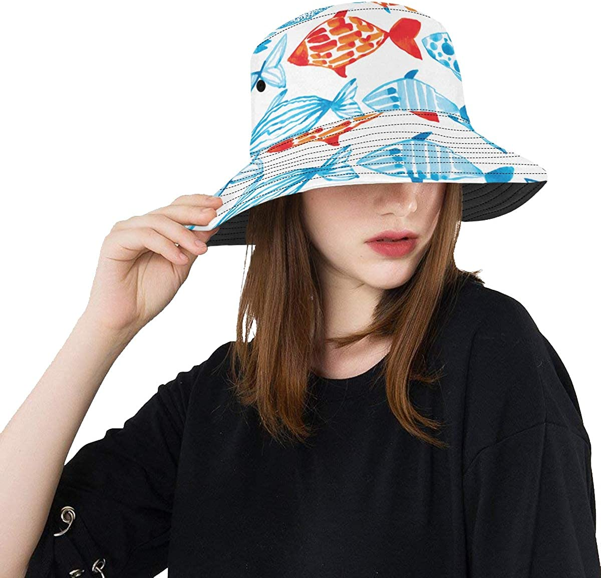 Fish Pattern Colorful Summer Supply Summer Unisex Fishing Sun Top Bucket Hats for Kid Teens Women and Men with Packable Fisherman Cap for Outdoor Baseball Sport Picnic