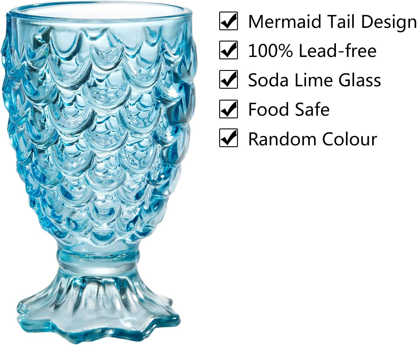 Czemo Drinking Glasses Set of 6 Tumbler Mermaid Glasses Coloured Glassware Cute Mermaid Decor Glass Cups Drinkware for Picnic Camping Beach Party