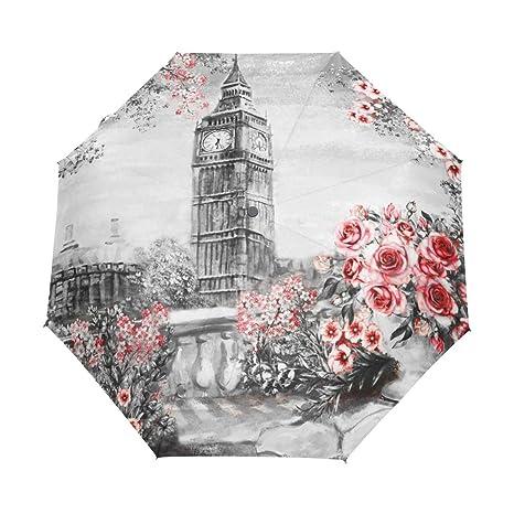 b1fe16cbb65b Amazon.com : Jereee Oil Painting London Big Ben Roses Compact Travel ...