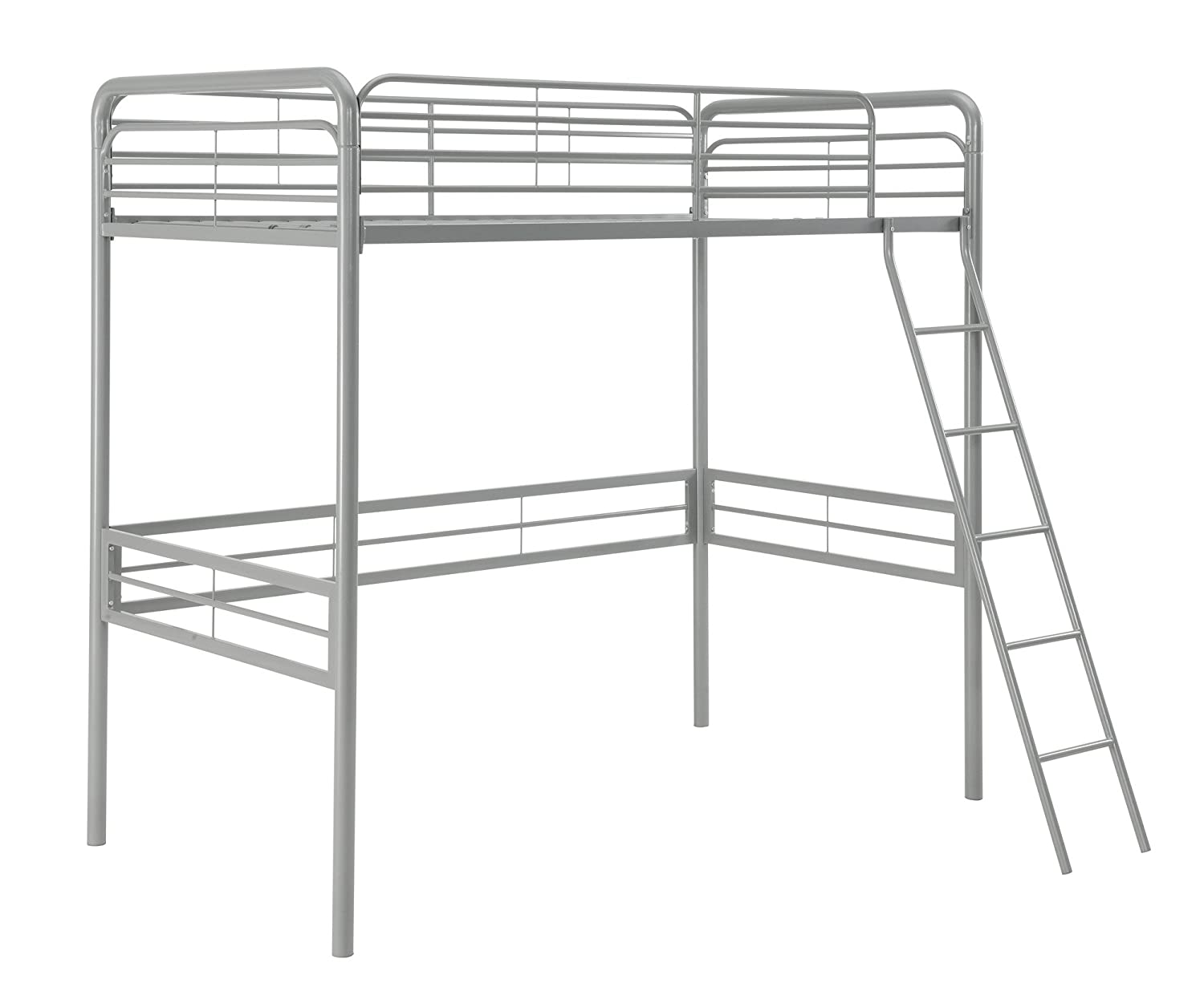 amazoncom dhp simple metal loft bed frame twin size silver kitchen u0026 dining