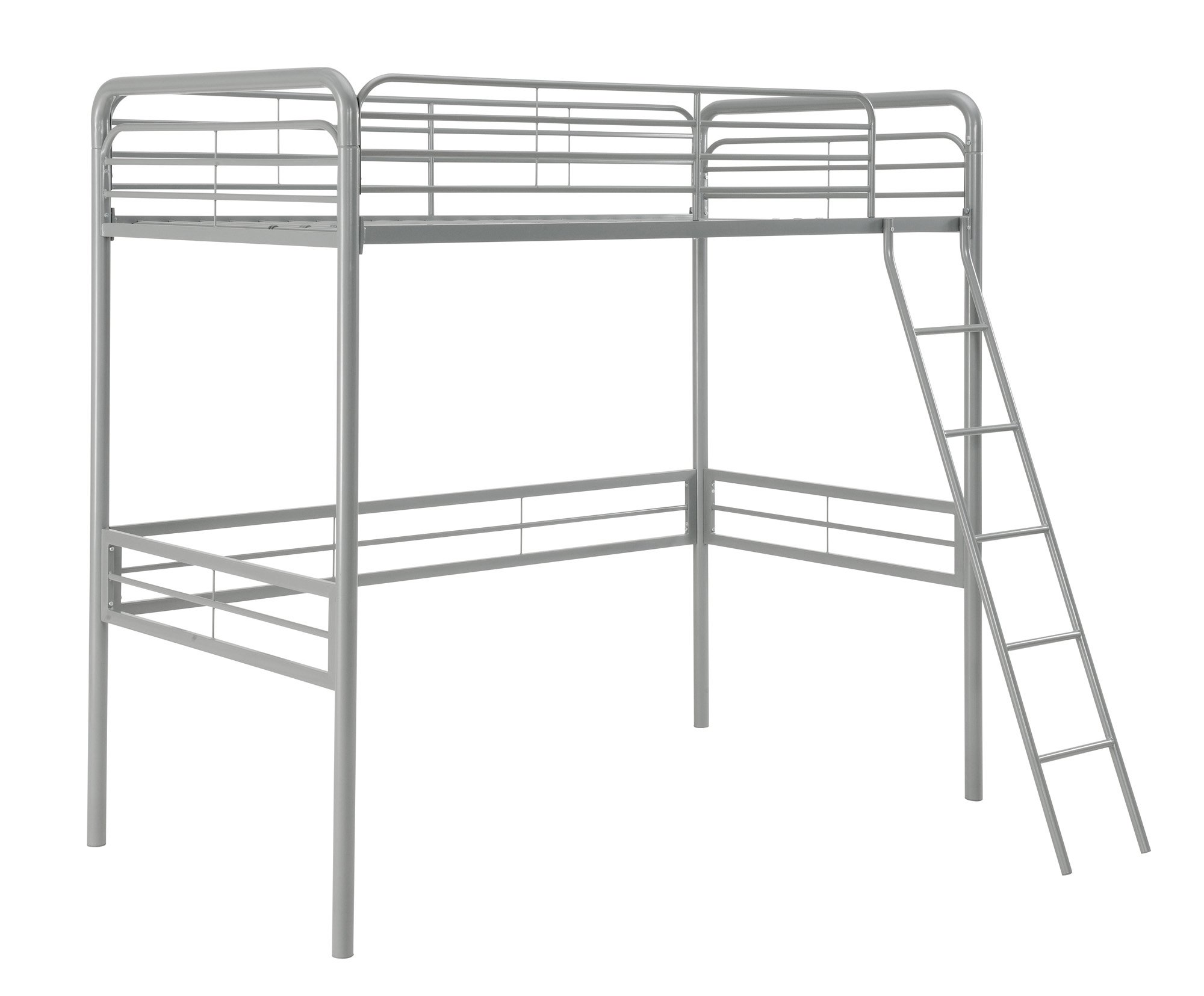 DHP Simple Metal Loft Bed Frame, Multifunctional, Twin Size, Silver