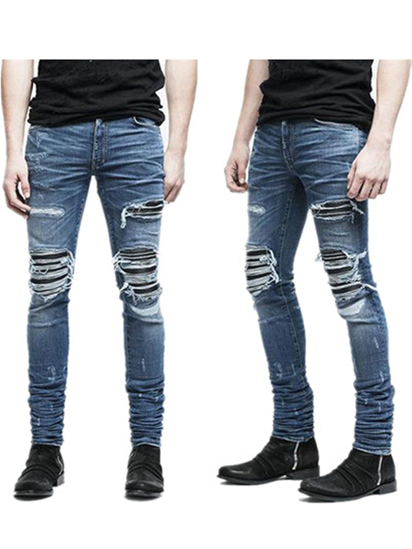 Phillip Dudley New Mens Jeans Ripped Skinny Biker Jeans Destroyed Frayed Slim Fit Hole Rock Hip Hop Denim Pencil Pants