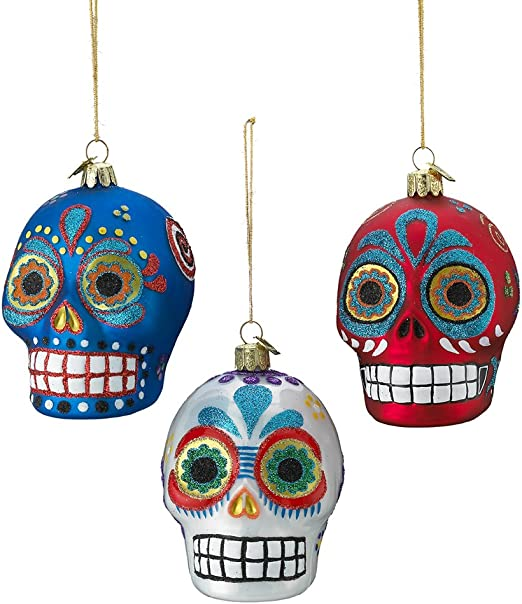 Kurt Adler Noble Gems Glass Skull Ornament Set of 3 3 Piece