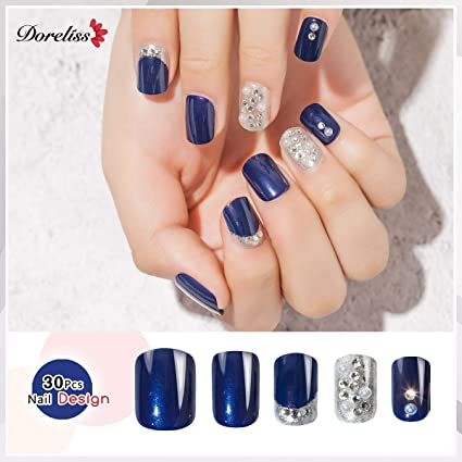 Doreliss uñas postizas 30 Pcs Diamantes Consejos corto uñas falsas de Pegamento adhesivo de doble cara Azul