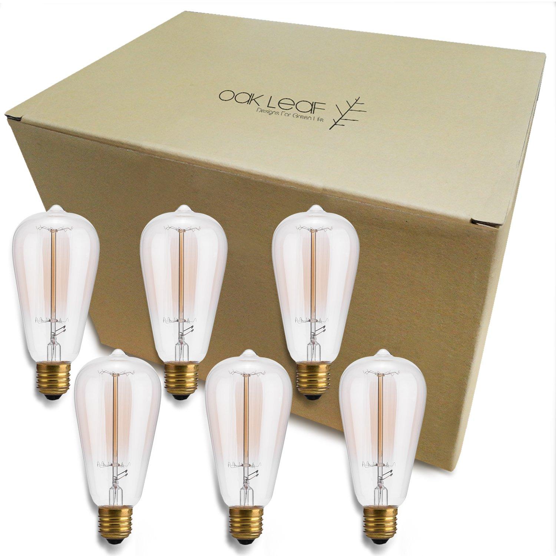 Oak Leaf Incandescent Light Bulbs 40 Watt, Amber Bulb 40W Edison Bulb Vintage Antique Filament Light Bulbs, 2400K Warm White(Amber Glow),Medium Screw Base E26,6 Pack by Oak Leaf (Image #8)