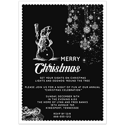 amazon com black and white christmas party invitations 5x7 set of