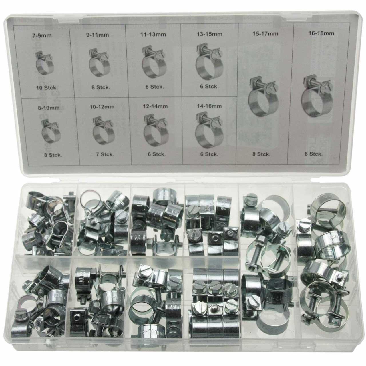 Alkan 73 x Universal Mini mini-colliers de serrage Assortiment de rond zieh Jeu de colliers de fin (Assortiment dans une boî te de rangement/boî te) 56073