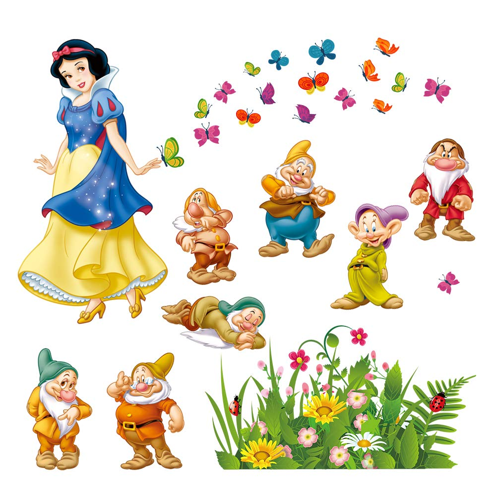 decalmile Snow White and The Seven Dwarfs Wall Decals Princess Wall Stickers Peel and Stick Removable Vinyl Wall Art for Kids Bedroom Nursery Girls Room Yanfeng