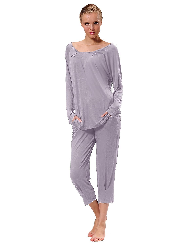 822328d5f63c3c Raikou Damen Jersey Zweiteiliger Freizeitanzug Schlafanzug Pyjama Hausanzug  Trainingsanzug Nachtwäsche-Set aus Viskose 3/