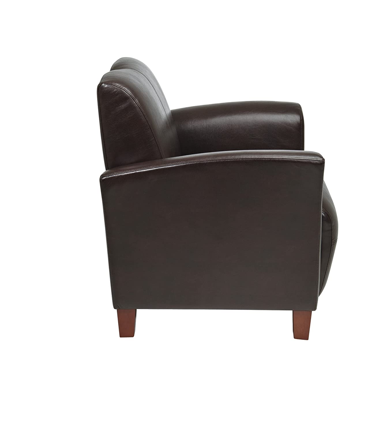 Office Star Breeze Black Eco Leather Club Chair with Cherry Finish Legs