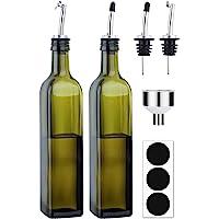[2 PACK]Aozita 8 oz Glass Olive Oil Dispenser Bottle Set - 250ml Dark Green Oil & Vinegar Cruet Bottle with Pourers…