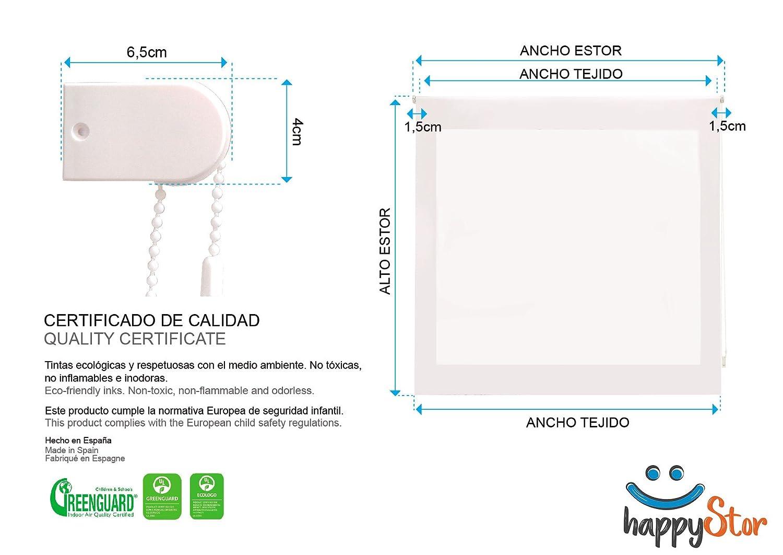 **Solo Ancho Tela:76-77cm.** HappyStor HSCI1615 Estor Enrollable Estampado Digital Infantil Tejido Trasl/úcido Medida Total Estor:80x180