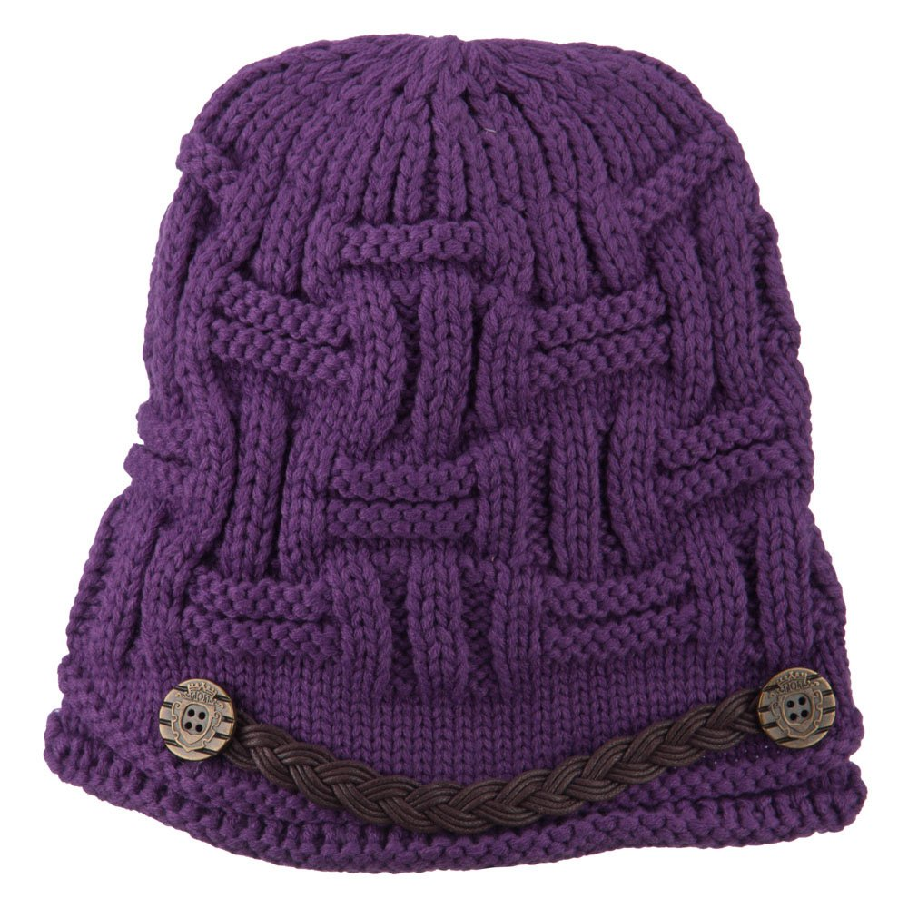 b2d0d5e7e962d Amazon.com  Braided Hat Band Cable Knit Beanie - Purple OSFM  Clothing