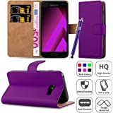 Galaxy A5 2017 Case, [Premium Leather] Wallet Book Card Case Cover Pouch For Samsung Galaxy A5 2017 [Free Screen Protector With Microfibre Polishing Cloth] & [Free Touch Stylus] (Purple)