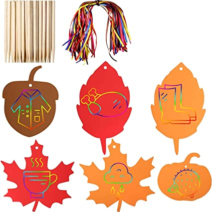 Set of 24 Leaves Neliblu Magic Fall Colors Scratch Fall Crafts Art Set 24 Scratch Sticks and 24 Ribbons Colorful Scratch Paper Autumn Leaves in Bright Fall Colors