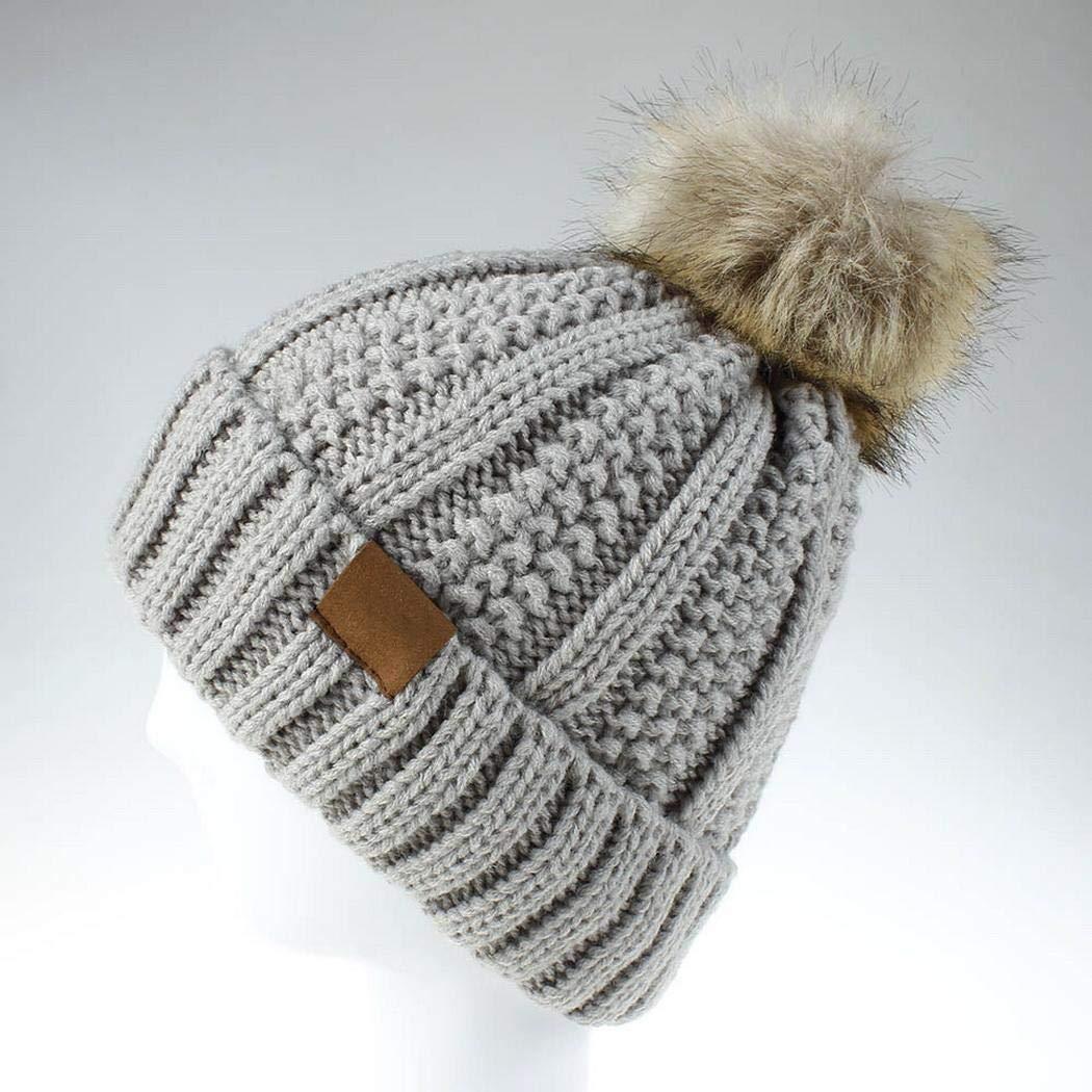 Yuikled Berretto Caldo Invernale da Donna con Cappuccio in Maglia di Pelliccia Sintetica Cappelli e Cappellini