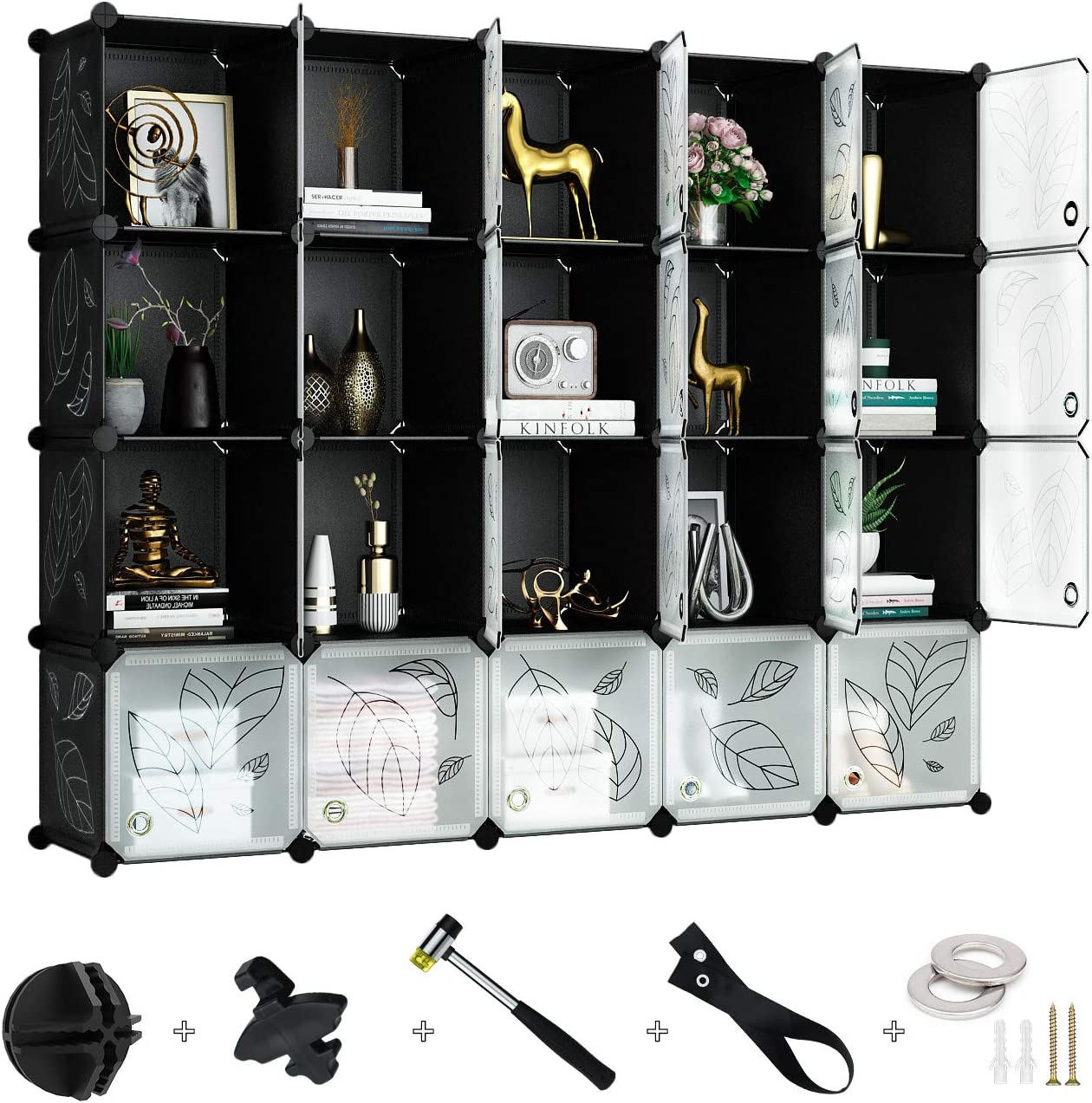 Black Clothes Greenstell 20 Cubes Storage Organizer NO Doors Artworks Toys DIY Plastic Stackable Shelves Multifunctional Modular Bookcase Closet Cabinet for Books Decorations