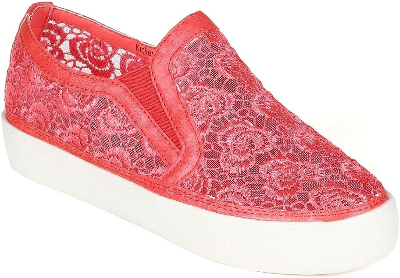 Women Leatherette Lace Mesh Flat Sneaker CC63 - Coral