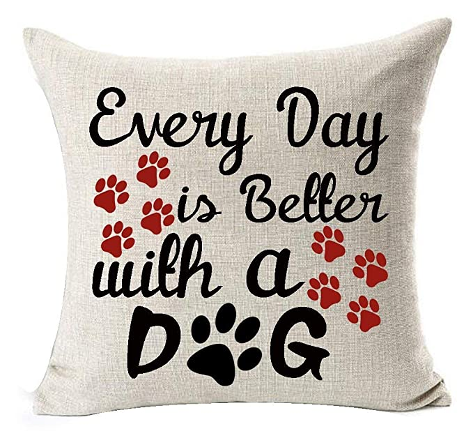 Amazon com: New Funny Sayings Cute Dog Print Cotton Linen