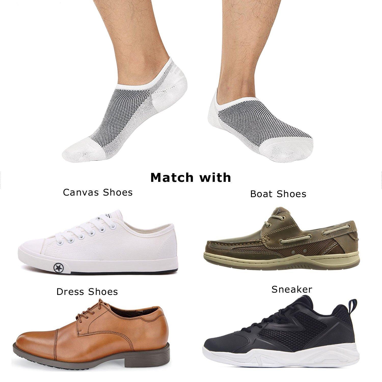 SIXDAYSOX Men\'s No Show Socks Cotton Non Slip Low Cut Ankle Invisible Socks Mesh Knit Shoe Size 6-11 Sock Size 10-13 Pack of 8 White