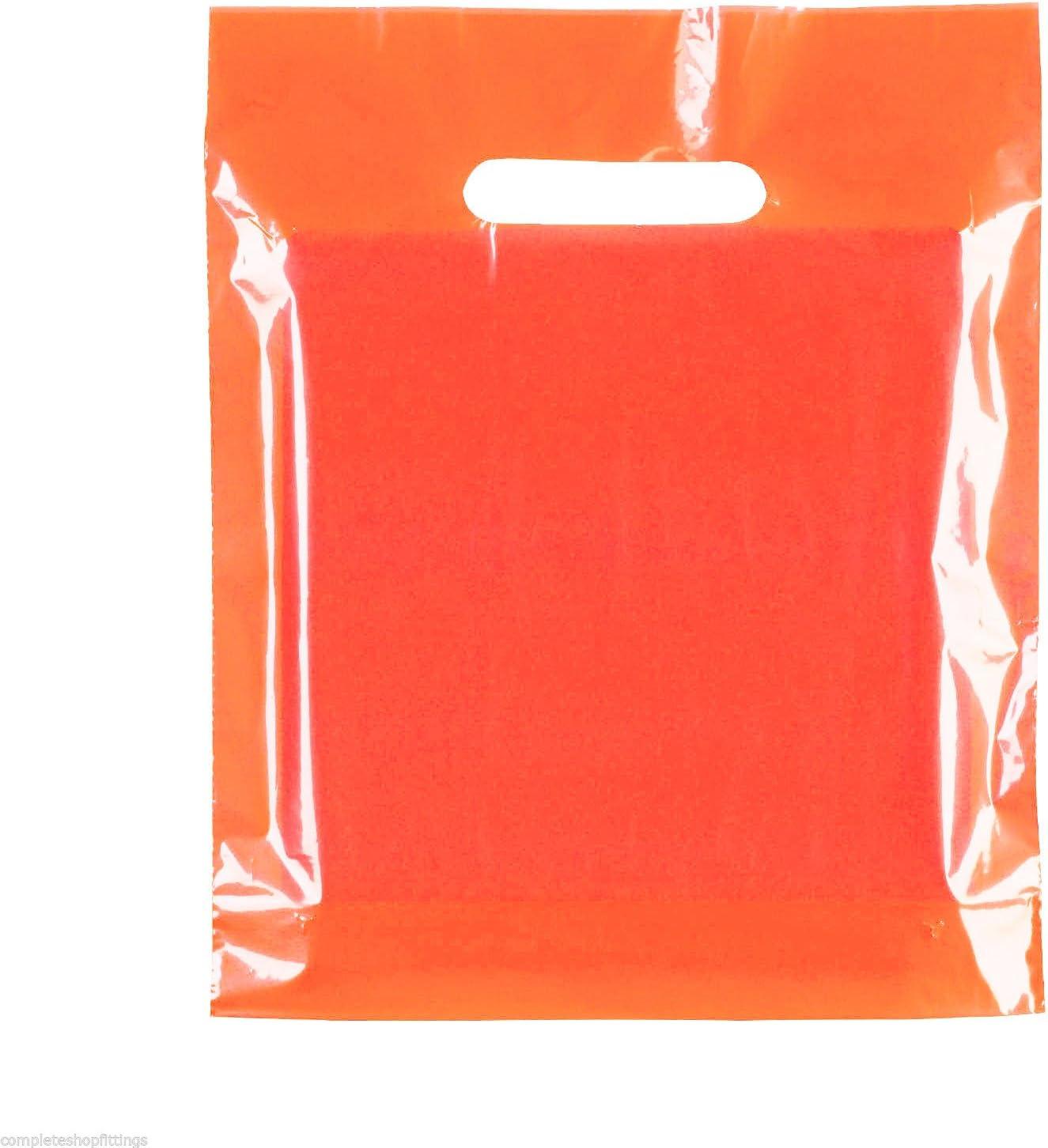 Complete Retail Source ltd 100 Bolsas de plástico con asa troquelada para Compras, 15 x 18 Pulgadas + 3 Pulgadas (Naranja Rojizo (50 micras), 15 x 18 Pulgadas + 3 (39 x 45 cm)