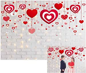 Allenjoy 7x5ft Valentine's Day Backdrop Glitter Rustic White Brick Wall Red Heart Photography Background for Mother's Day Wedding Bridal Shower Birthday Party Decor Banner Portrait Photo Booth Props