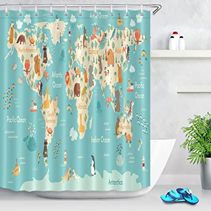 Image Unavailable Not Available For Color LB World Map Shower Curtain