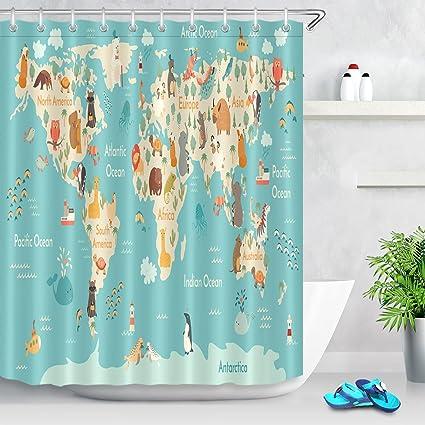 Amazon Com Lb World Map Shower Curtain Waterproof Eco Friendly