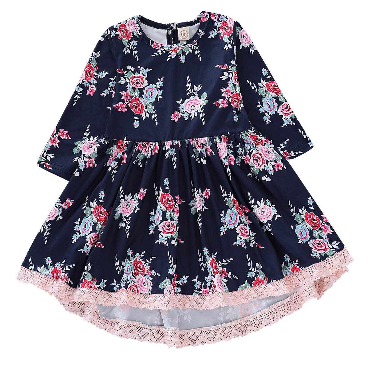 Baby Girls Dress Kids Girls Floral Rose Princess Lace Edge Dress Skirt Casual Clothes Costumes