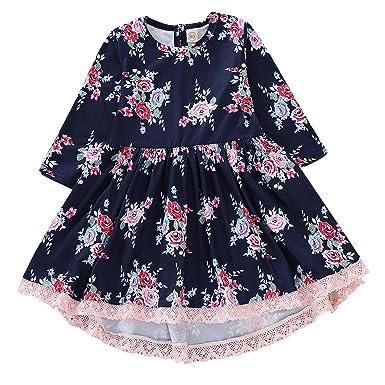 cd8ee438c59e Amazon.com  Baby Girls Dress Kids Girls Floral Rose Princess Lace ...