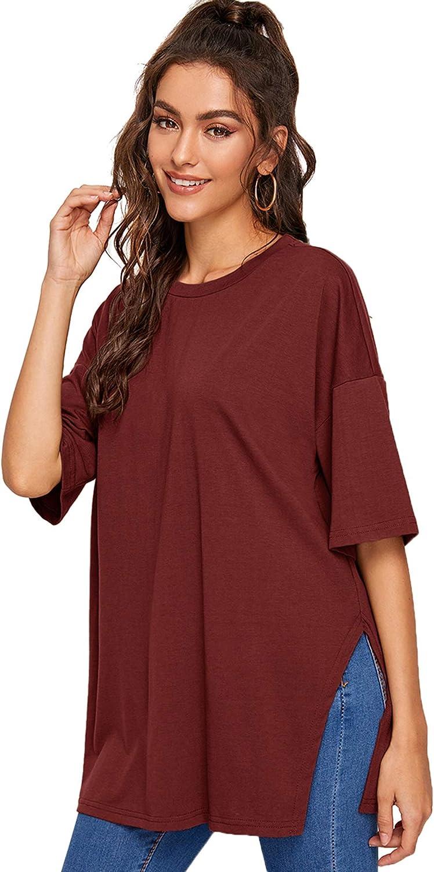 Floerns Women's Casual Basic Short Sleeve Loose T-Shirt Tee Tops