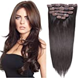 """20""""Clip in Hair Extensions Real Human Hair Double Weft Thick to Ends Dark Brown(#2) 6pieces 70grams"""