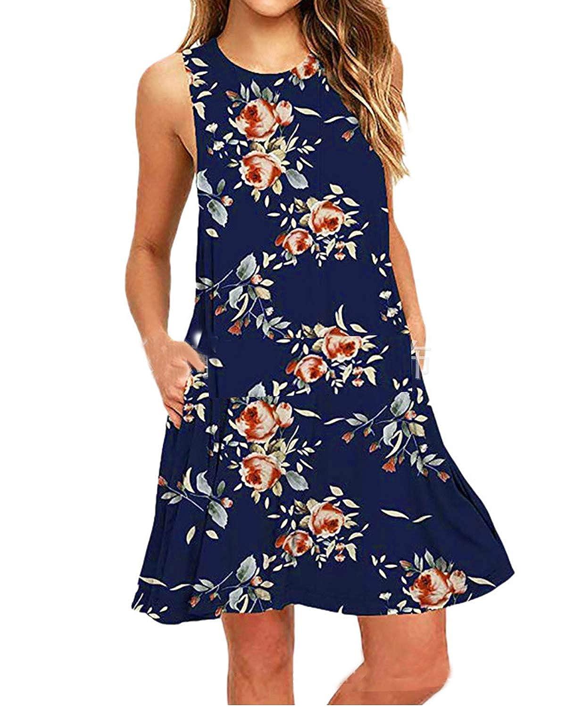 Kidsform Womens Summer Sleeveless Pockets Casual Swing T-Shirt Dress Short Mini Loose Flare Beach Dresses