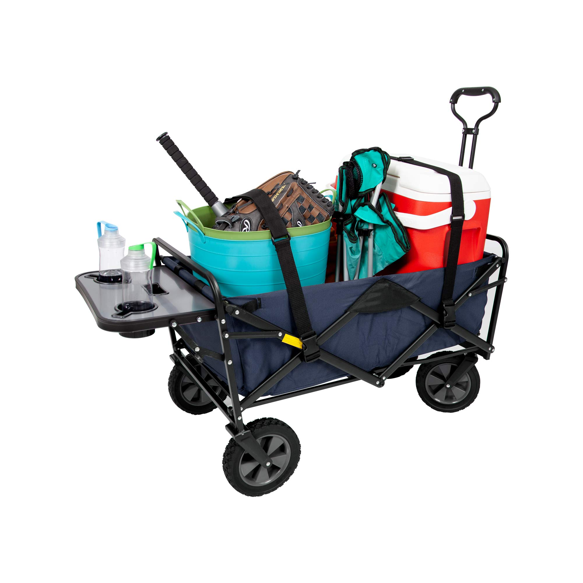 Mac Sports Collapsible Outdoor Utility Wagon with Folding Table and Drink Holders with Straps, Blue by Mac Sports