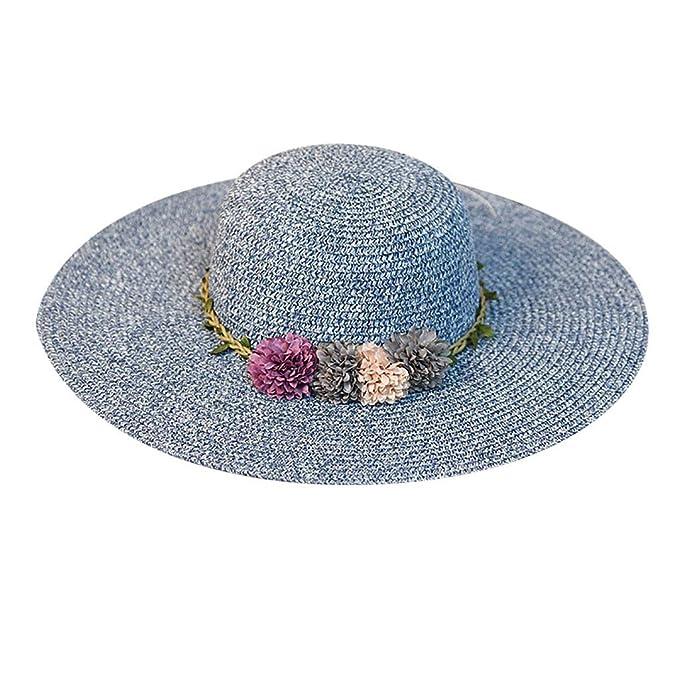 Yvelands Mujeres Liquidación Gran ala Ancha Sombrero de Paja Flor Colorida Playa Sol Gorra Plegable (Armada, Un tamaño): Amazon.es: Ropa y accesorios