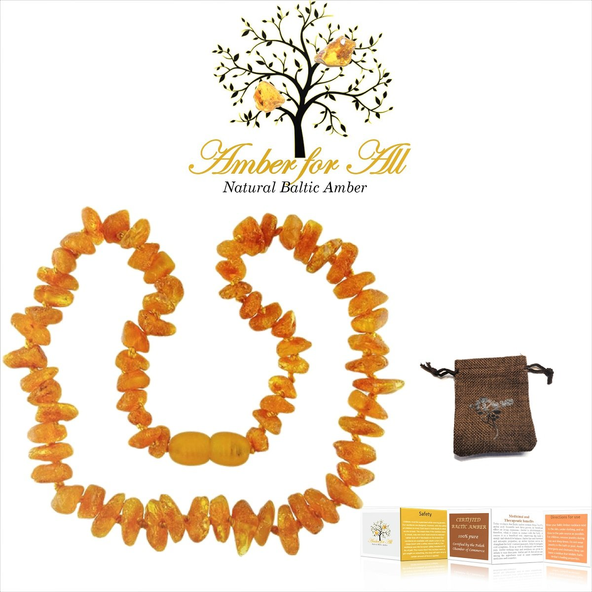 Baltic Amber Teething Necklace – reduces teething pain, drooling, inflammation – Certificates and Guarantees given – Unisex design – 13in (32cm) – Raw unpolished amber