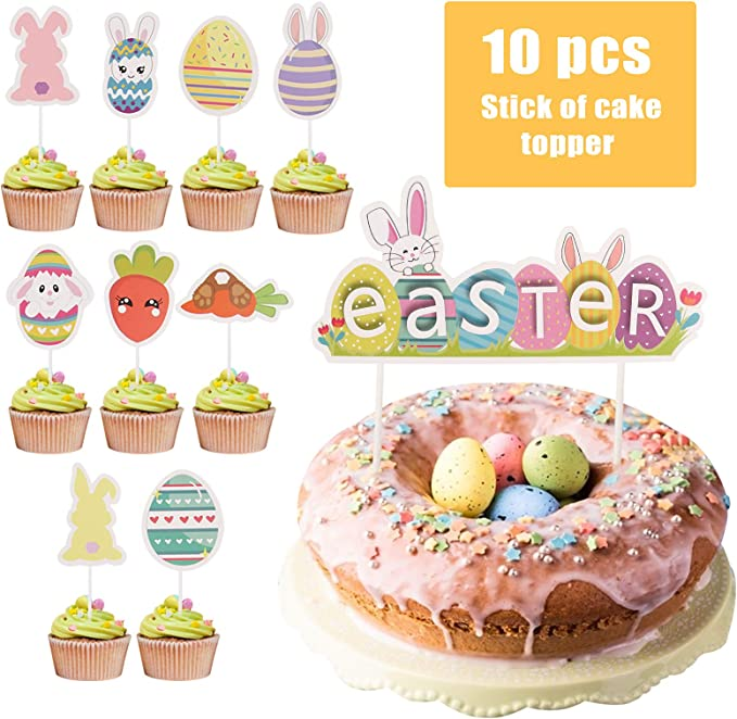 Easter Decorations Easter Stickers Printable Easter Banner Cupcake Toppers Easter Bunny Party Kit Easter Party Package Party Favors