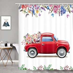 Valentine's Day Red Truck with Flower Shower Curtain, Farmhouse Style Butterfly in Colorful Flowers Bathroom Decor, Spring Plant Floral Green Leaves Fabric Shower Curtain Set with Hooks 69x70in