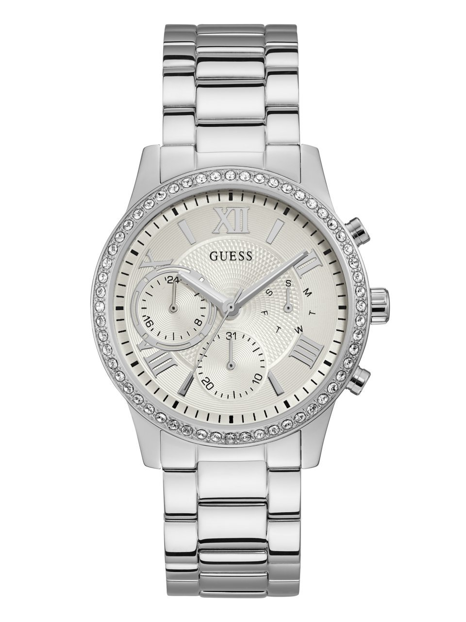 GUESS Women's Stainless Steel Crystal Casual Watch, Color: Silver-Tone (Model: U1069L1)