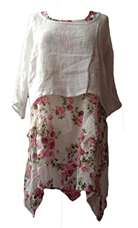 c54e68c65 Italian 2 Piece White Thin Cotton Floral Print Dress Top with Thick ...
